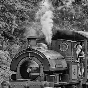 Train Driver #1 B&W (Tanfield #6) by Robert Wake - Black & White Street & Candid (  )