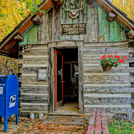 Post Office and Library by Barbara Brock - Buildings & Architecture Public & Historical ( rustic small town, post office, library, log cabin, small town idaho )