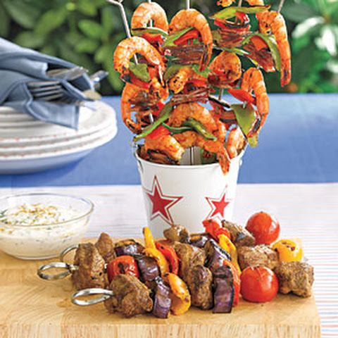 Chicken Kebab With Carrot-Raisin Salad And Greek Yogurt Sauce ...