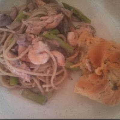 Salmon and Prawn Spaghetti Dish