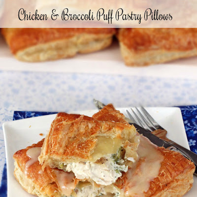 Chicken, Cream Cheese & Broccoli Puff Pastry Pillows