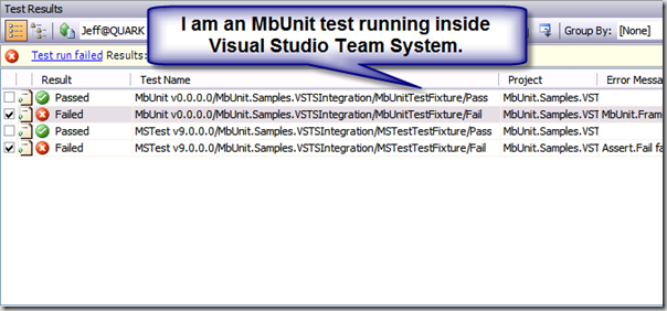An MbUnit test running inside of Visual Studio Team System