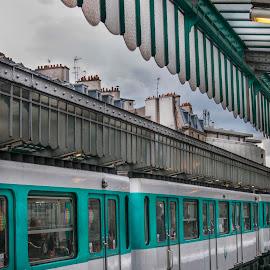 Le Metro by Christian Diboky - Transportation Trains ( paris, subway, turquoise, station, metro, cloudy, train, grey, france, underground,  )