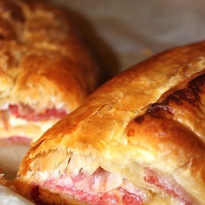 Asiago, Almond and Salami Strudel