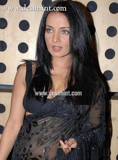 Sexy Actress Celina Jaitley in a black saree, looking cool!