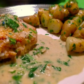 Savory Roasted Chicken Thighs with Creamy Shallot Sauce