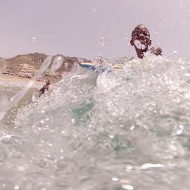 Boogie Boarding! by Tyler Rickenbach - Sports & Fitness Surfing ( water, mindelo, summer, boogie boarding, beach, sao vicente, africa, cape verde )