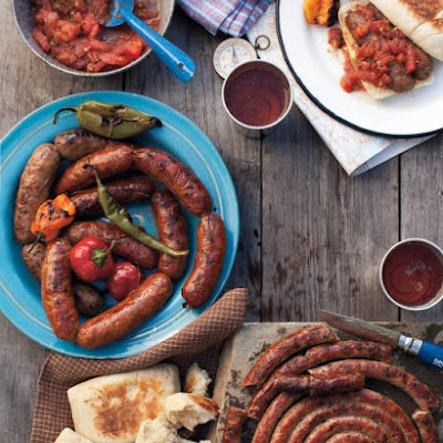 Grilled Sausages with Charred Tomato Relish