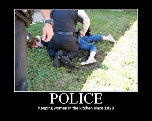 Police keeping women down demotivational picture