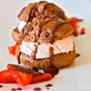 Chocolate Profiteroles with Strawberry Ice Cream