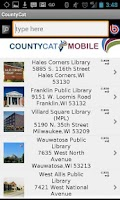 Screenshot of CountyCat Mobile Catalog