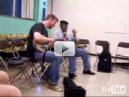 Chris Coole (banjo) and Clif Ervin (master of bones) at Midwest Banjo Camp 2008