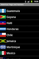 Screenshot of Americas flags and countries