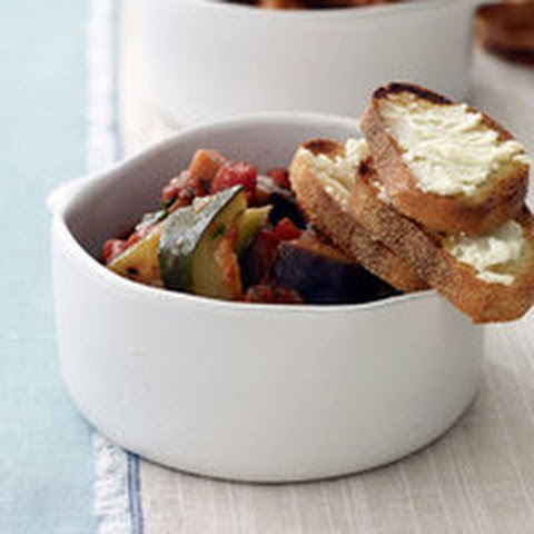 Ratatouille Stew with Goat Cheese Crisps