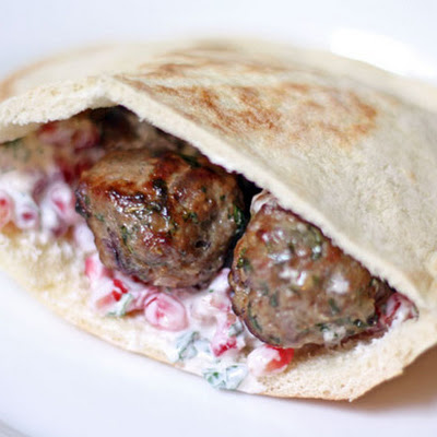 Lamb Meatballs with Yogurt and Pomegranate Seed Sauce