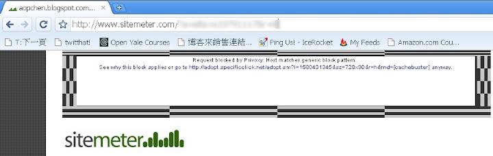Sitemeter的網路廣告被擋掉了