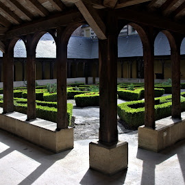 Montivilliers Monastery by Anita Berghoef - Buildings & Architecture Places of Worship ( monastery, architecture montivilliers monastery, court yard, architecture, garden, shadows )