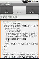 Screenshot of Ruboto IRB (Ruby on Android)