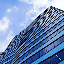 Blue tower 4 by Anita Berghoef - Buildings & Architecture Office Buildings & Hotels ( office, tower, blue, offices, glass, architecture, looking up )