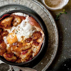Patatas Bravas with Ham and Egg