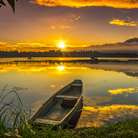 Burning Sunrise by Juanito Bumactao - Landscapes Sunsets & Sunrises ( laguna, city of seven lakes, summer, hot, sunrise, san pablo city, philippines,  )