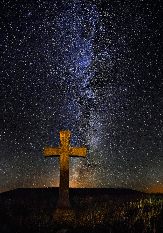 St Johannes Cross by Jörgen Tannerstedt - Landscapes Starscapes ( sweden, stars, night, öland, galaxy, nightscape, milky way, cross )
