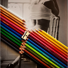 Zipped by Maricha Knight van Heerden - Artistic Objects Other Objects ( magazine, playful, colourful, diagonal lines, zipped, fun, colouring pencils, crayons, rainbow colours, drawing, sharpener, juxtaposed )