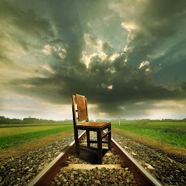 wooden chairs by Indra Prihantoro - Digital Art Things ( chair, road, Chair, Chairs, Sitting )