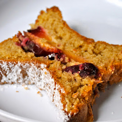 Cherry Sponge Cake with Cinnamon