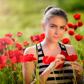 girl 2 by Hermeneanu Valter - People Portraits of Women ( enthusiasm, red flower, moods, passionate, improving mood, wheat field, love, girl, red, sunset, the mood factory, passion, field of poppies, inspirational )