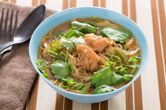 Spicy Thai Chicken Noodle Soup with Red Curry & Mushrooms Recipe ...