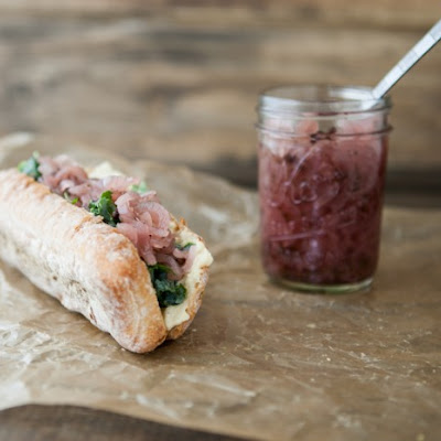 Hummus, Onion Relish, and Honey-Lime Kale Sandwich