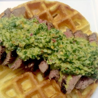 Tapioca Cheese Waffles With Chimichurri Steak