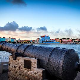 Curacao at Dusk by Stephen Kennedy - City,  Street & Park  Skylines ( curacao, cityscape, cruise, dusk, caribbean, cannon, island, blue, sunset, 2012, dutch, antilles, waterfront )
