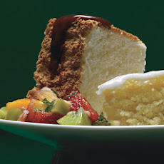 Orange Angel Food Cake with Caramel Sauce and Tropical-Fruit Compote