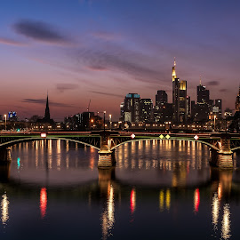 Lights of City by Selman Dogan - City,  Street & Park  Skylines ( clouds, reflection, blue hour, reflections, cityscape, city, nightscape, lights, frankfurt, night photography, wolken, long exposure, mainhattan, light, river )