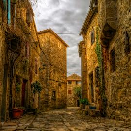Old street in Groznjan by Siniša Biljan - City,  Street & Park  Street Scenes