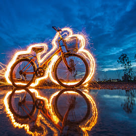 Bicycle fire by Pkproject Khatawut J - Abstract Light Painting ( reflection, lightpainting, light, longexposure, fire, bicycle )