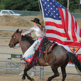 God Bless America by Brian  Shoemaker  - Sports & Fitness Rodeo/Bull Riding ( red white and blue, freedom, american flag, rodeo, cowgirl, national anthem )
