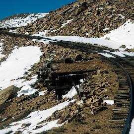 Rail Road Tracks @ Pikes Peak by Anastasyia Sukhorukova - Transportation Railway Tracks ( mountains, elevation, colorado, train, tracks )