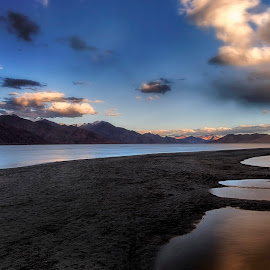 Serenity by Jasminder Oberoi - Landscapes Travel ( canon, pangong tso, canon photo mentor, travel, landscape, travelogue, light chasers, sky, nature, long exposure, india, mesmerising ladakh, water, clouds, travel diary, blue hour, twilight, incredible india, jammu and kashmir, lake, ladakh, images from india, photo tour, jassi oberai, landscape photography, jas fotography, spangmik )