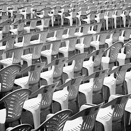The stall by Antonio Amen - Abstract Patterns ( stall, chairs, patternsplastic, row )