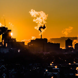 Industrial Daybreak by Roy Morra - City,  Street & Park  Skylines ( industrialization, toronto, smoke, city, sony, urban, industrial, sunrise, smokestack, slt a37, industry, downtown, steam )