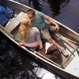 Rowing by Kate Gansneder - People Couples ( water, lake, rowboat, boat, row, kiss, washington, seattle, uw, uwarboretum, engaged, couple, arboretum, engagement )