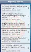 Screenshot of Medical Device Regulatory
