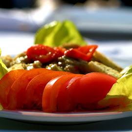 Fresh homemade salads by Simona David - Food & Drink Plated Food ( salad, fresh salad, tomato, homemade fresh salad, fresh, home made salat, eggplant, freshness, eggplant salad, homemade, salads, home made,  )