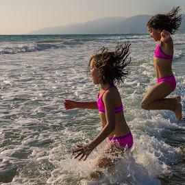 Pure Joy by David Hammond - Babies & Children Children Candids ( playing, water, girls, jumping, waves, leaping, children, ocean, beach )