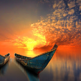 dua perahu by Indra Prihantoro - Digital Art Things ( sunset, boats, boat )