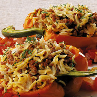 Lamb and Orzo Stuffed Pepper with Chunky Tomato Sauce