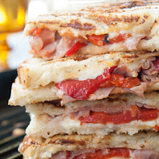 Roasted Red Pepper and Prosciutto Grilled Cheese